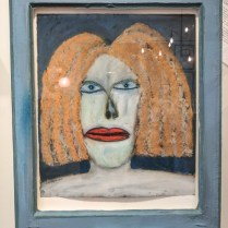 "**ITEM NOW SOLD**Gregory Grenon. 'Bookstore Redhead'. 1984. Oil on paper. Artist made frame from old window. Original List: $5200.-Modele's Price: 2250.-24.75 w"" x 30.75""h x 3.75"" Deep."