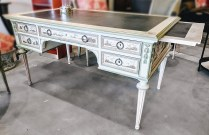 **ITEM NOW SOLD** Custom painted vintage desk. Charming chinoiserie style. Pull-out leaves at each end. Leather writing surface. Original price paid: $8000.- Modele's price:1500.-