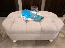 **ITEM NOW SOLD**Custom designed and built tufted ottoman. Reupholstered in the last year. 495.-