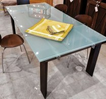**ITEM NOW SOLD** Roche Bobois glass extension dining table. Seats up to 12. Original List: $9750.-. Modele's Price: 1850.-