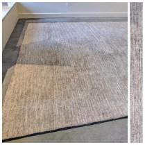 **ITEM NOW SOLD**Mafi International. Allure Smoke bamboo silk rug.Original Price: $2465.-Modele's Price: 1295.-