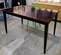 "**ITEM NOW SOLD**Solid wood table with butterfly leaf. Adjusts to console size table (22"" w). Full width with leaf 34""w.375.-"