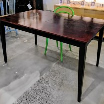 """**ITEM NOW SOLD**Solid wood table with butterfly leaf. Adjusts to console size table (22"""" w). Full width with leaf 34""""w.375.-"""