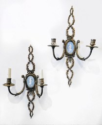 **ITEM NOW SOLD**Pair Ormolu wall sconces. Jasperware plaques. Possibly Wedgewood. Electrical in one sconce partially removed.350.-