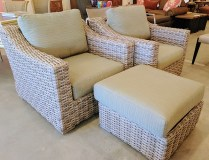 Pair Sunlord outdoor wicker chairs with custom sun brella fabric and ottoman. Covers for all pieces included. 1500.-