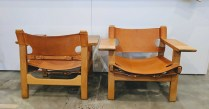**ITEM NOW SOLD** Pair Fredericia 'Spanish Chairs' by Borge Mogensen. Very light use. Stored for the last 5 years. Natural saddle leather, soaped oak frame. Purchased from Egberts in 2002. Current list each: $4657.- ($9314.-/pair). Modele's Price: 5750.-/pair