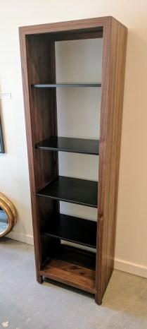 **ITEM NOW SOLD**Crate and Barrel Etagere. Walnut with metal shelves. 1 fixed shelf, 3 adjustable shelves. Original List: $800-$900.-Modele's Price: 395.-