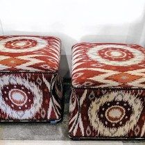 **ITEM NOW SOLD** Pair Ethan Allen 'Corbin' Ottomans . Fabric: San Benito 'Red Hot'. Copper nailheads. Original List: $1546.80 /pair. Modele's Price: 795.-