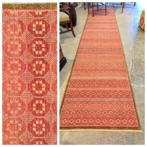"Michaelian and Kohlberg Runner Rug. 2' 11.5"" x 15' 10"". 'Swedish Block'. Purchased at Driscoll Robins 5-6 years ago.Hand knotted. Pad included (approx $175.- value). Original Price: $3,357.-. Modele's Price: 1500.-"