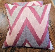 "**ITEM NOW SOLD**Pair Custom made Schumacher fabric throw pillows. 21.5"" sq. 195./ pair"