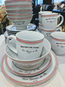 **ITEM NOW SOLD**Bistro de Paris luncheon set. 6 mugs, 6 bowls, 6 dessert plates, 6 luncheon plates. 125.-
