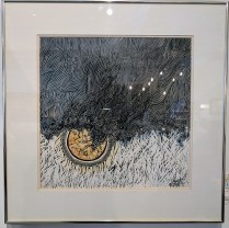 "**ITEM NOW SOLD**Framed Thai woodwork print. 'Rain' by Supote, Bangkok. c. 1964. #23/38. 22.25"" x 22.25"". 195.-"
