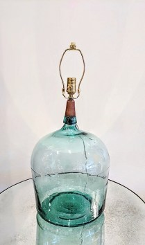 Hollyhock green glass lamp base. Three way bulb switch. Original List: $2400.- Modele's Price: 795.-