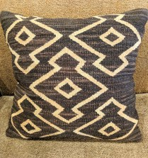 "**ITEM NOW SOLD**Dark brown natural wool pillow. 21"" x 21"".75.-"