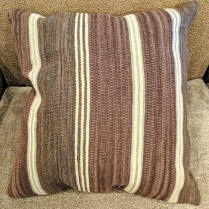 "**ITEM NOW SOLD** Square brown/cream striped kilim pillow. Fiberfill insert. 24.5"" x 25.75"". 65.-"