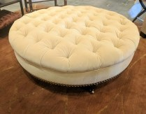 Custom ottoman. Donghia mohair. Approx 15 years old. Very light use. Original price: $3000. +. Modele's Price: 950.-
