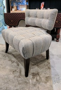 **ITEM NOW SOLD**Jessica Charles 'Wyatt' Slipper Chair. Approx 5 years old. Purchased at Masin's. Used for staging at the Four Seasons condo. Current List: $800.-$1000.- Modele's Price: 325.-