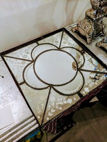 "**ITEM NOW SOLD** Anthropologie mirror with antiqued finish. 15""w x 14.75""h. Original List: $108.- Modele's Price: 40.-"