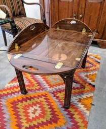"**ITEM NOW SOLD** Henredon Butler's coffee table. Mahogany with brass hardware. 42.5"" x 32.25"" x 18.25""h 375.-"