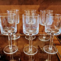 """**ITEM NOW SOLD** Set/6 Calvin Klein 8 inch 'Bergen' water glasses. Discontinued style. 8""""h. 50.-/set"""