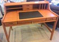 **ITEM NOW SOLD** Dyrlund teak desk, c. 1987. Purchased from Scan Design. Orig. list: $4200. Modele's Price: 950.-
