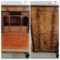 **ITEM NOW SOLD** Antique French secretary. Drop front with leather writing surface. Secret hiding place. 1750.-