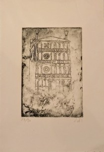 "Etching of Venice by Venetian artist. Alessandra D'Agnolo. 12"" x 6.5""31.50"