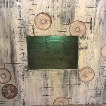 """**ITEM NOW SOLD** Julia Haack original art: 'Trespassing With Doughnuts'. Mixed media ,1997. Center photograph is lit from inside. 24.25""""w x 22""""h 295.-"""