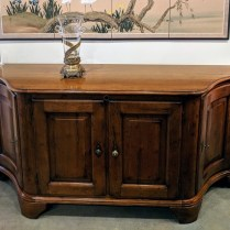 "**ITEM NOW SOLD** Milling Road (Division of Baker Furniture) buffet/media cabinet. Interior drawer with adjustable shelves. Sensor ""eye""so remote will work through cabinet doors. Original List: $7000.- Modele's Price: 1500.-"
