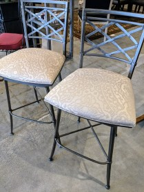 "Pair Ethan Allen 'Becker' bar stools. One year old. Upgraded fabric, swivel seat, 30"" seat height. Orig. List: $1,893. Pr. Modele's Price: 895.- Pr."