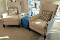 Pair Oly 'Sienna' lounge chairs. Approx 1 years old. Includes pillows. Current list: $3825.- each. Modele's Price: 2500.-