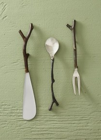'Sapling' spreader, demitasse spoon, cocktail fork, by Roost Co. Hand wash. Spoon or fork 11.50 each. Spreader 12.50
