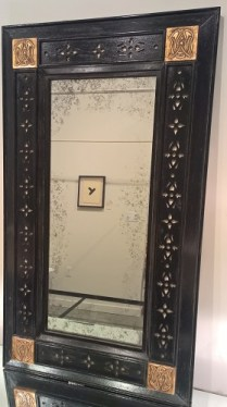 "**ITEM NOW SOLD** Jasper Co. William mirror (style #807-1). Custom size. Carved corner details with applied fretwork. Finish: antiqued and distressed painted mahogany, 24""w x 42""h. Orig. List: $6,000. Modele's Price: 1950.-"