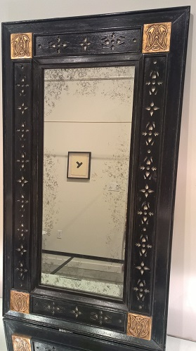 """Jasper Co. William mirror (style #807-1). Custom size. Carved corner details with applied fretwork. Finish: antiqued and distressed painted mahogany, 24""""w x 42""""h. Orig. List: $6,000. Modele's Price: 1950.-"""