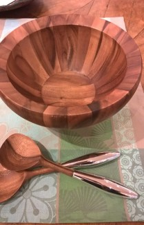 **ITEM NOW SOLD** Nambe salad bowl with servers. Never used. 60.-
