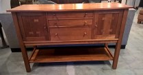 "**ITEM NOW SOLD** Stickley solid cherry sideboard. Purchased in 2000. Locking doors, felt silverware storage. 60""w x 21.75""d x 38.5""h. 1195.-"