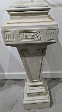 """Pair of painted and carved French pedestals, from the Jane Piper Reid Collection, 36.5""""h. Orig. List: $2044. pair. Modele's Price: 850.- pair"""