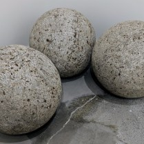 "**ITEM NOW SOLD** Set/3 Hypertufa concrete spheres. Purchased from Mecox Gardens. 18"" dia. Orig. List: $885. set/3 Modele's price: 450.- set/3"