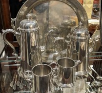 "Boardman 'Colonial' 5-Pc. pewter set: 14"" round tray, coffee pot, tea pot, cream and sugar, 51 year old. Current List: $1,500. Modele's Price: 495.-"