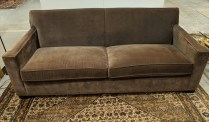 """**ITEM NOW SOLD** Crate & Barrel sofa, 10 years old. Nailhead trim at base. Nice arm detail, tight back. Some fading. 82.25""""w x 37""""d x 31.25""""h Orig. List: $1,499. Modele's Price: 650.-"""