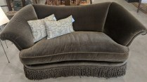 """**ITEM NOW SOLD** Custom mohair sofa by JJ Custom in L.A. Five years old, very light use. Mohair fabric sells for over $400. per yard 79""""w x 37.5""""d x 35.25""""h Orig. List: $10,000.+ Modele's Price: 1950.-"""