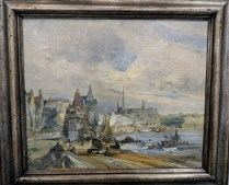 "**ITEM NOW SOLD** Oil on canvas by J. DeVogel, Dutch. At least 60 years old. 31.75""w x 27.75""h. 350.-"