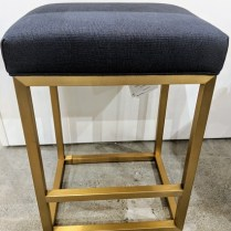 "**ITEM NOW SOLD** Set/3 Restoration Hardware 'Reese' counter stools with brushed brass finish and Belgian linen seats. Never used, one year old. 17.75""w x 15""d x 24.5""h. Current List: 651. each, plus delivery. Modele's Price: 1195.- set/3"