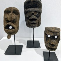 """**ITEMS NOW SOLD** African masks on stands, sold separately. 7""""h: 65.- 10.75""""h: 85.- 12.75""""h: 150.-"""