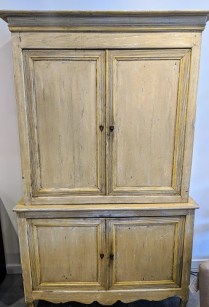 """Painted antique French 2 pc. cupboard with locking doors top and bottom. Purchased from Les Piafs in Belltown (now closed). 52.75""""w x 20""""d x 85.5""""h. Orig. List: $7,400. Modele's Price: 2500.-"""