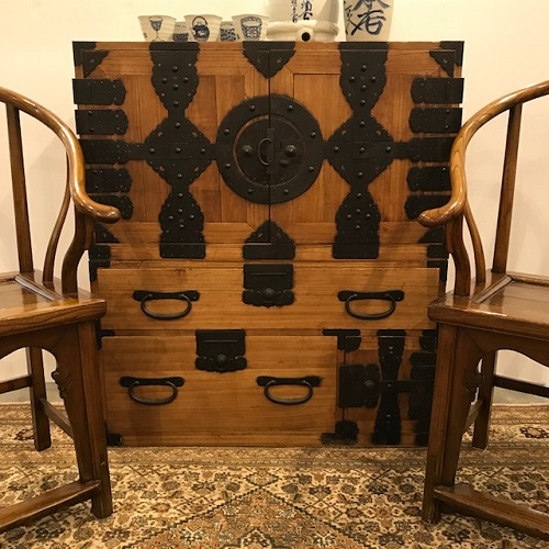 """2-Pc. Japanese tansu. Kiri wood with iron hardware. Meji Period, c. 1895. Purchased from Glenn Richards Asian Antiques in 2010. 37.25""""w x 17.25""""d x 43""""h. Pieces can be used separately as well. Orig. $2.200. Modele's Price: 1250.-"""