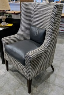 """**ITEM NOW SOLD** Kerry Joyce 'Mondrian' chair. Less than six months old. Holland & Sherry linen with Holly Hunt leather trim. 29""""w x 31""""d x 45.75""""h. Orig. List: $7,200. Modele's Price: 2195.-"""