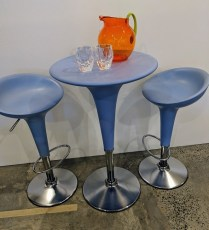 "Magis (made in Italy) 'Bombo' cafe set. Table: 21.5"" d. x 36.25""h. Stool height is adjustable. Orig. List: $2,364. Modele's Price: 1150.- set"
