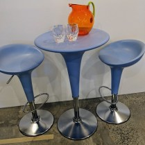 """**ITEM NOW SOLD** Magis (made in Italy) 'Bombo' cafe set. Table: 21.5"""" d. x 36.25""""h. Height is adjustable on stools and table. Orig. List: $2,364. Modele's Price: 850.- set"""