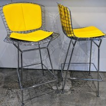 """**ITEM NOW SOLD** Pair Knoll Bertoia counter stools with seat and back pads. Less than 3 years old. Seat height: 27.5"""" Current List: over $3,000. for the pair. Modele's Price: 1500.- pr."""